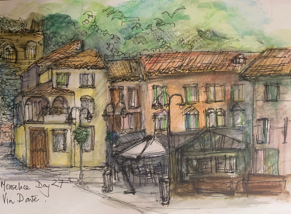 Pen and wash drawing.